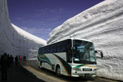 雪の大谷とバスの壁紙
