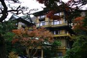 富士屋ホテルと紅葉の壁紙
