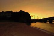 波の上ビーチの夕焼けの壁紙